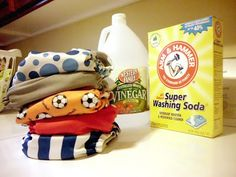 How to strip cloth diapers | Baking soda and Vinegar. You can put a little bit of baking soda in with the wash and fill a downy ball to the correct mark with white vinegar and put it in your wash. It will release during the first rinse cycle. Include a second rinse cycle to the wash. This is a great way to wash All in one and pocket diapers.