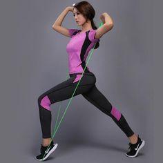 accd86d5523a Women s 2 Pieces Set Fitness Running T Shirt + Pants Breathable Gym Workout  Yoga Leggings Sport Suit