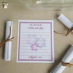 "Custom Tropical Hibiscus Flowers Message Sheets - Choice of Colors - 4x5"" message in a bottle notes - Wedding guestbooks (*Amazon Partner-Link)"