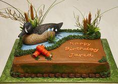 Birthday 065 — Cake For Duck Hunter's Duck Hunting Cakes, Hunting Birthday Cakes, Hunting Baby, Mini Cakes, Cupcake Cakes, Duck Cake, Foundant, Cakes For Boys, Savoury Cake