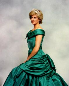 This portrait of the Princess of Wales in an emerald green dress photographed by Terence Donovan (June 24, 1987)