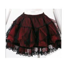 Red Lace Ruffle Short Casual Mini Goth Tutu Skirts Clothes... ❤ liked on Polyvore featuring skirts, mini skirts, goth mini skirt, mini skirt, lace mini skirt, ruffle skirt and ruffle mini skirt