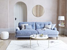 Sugar Bum Sofa Those who know how to binge on a box set will be in seventh heaven with this comfy sofa. Just plonk Chaise Sofa, Upholstered Sofa, Cushions On Sofa, Blue Cushions, Couch, Sofa Design, Interior Design, Furniture Design, Living Room Sofa