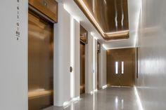 H Zentre — CL3 Hall Design, Signage Design, Ceiling Detail, Ceiling Design, Elevator Lobby Design, Hotel Corridor, Public Hotel, 1970s Decor, Retail Interior Design