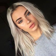 White-Blonde-with-Dark-Roots Best Short White Blonde Hair Best Picture For bleached hair For Your Taste You are looking for something, … Blonde With Dark Roots, Bleach Blonde Hair With Roots, Blonde Hair With Dark Eyebrows, Bleached Blonde Hair, Natural Eyebrows, Black Roots Blonde Hair, Straight Eyebrows, Natural Makeup, White Blonde Hair