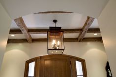 Front Entry - Reclaimed antique oak barn beams