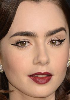 Close-up of Lily Collins at the 2017 Vanity Fair Oscar party.