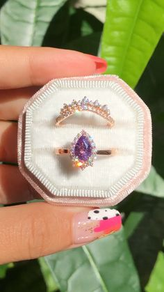 We love this combo of our Tiara Halo ring in Tapered Shank Pear Cut Lavender Purple Sapphire Ring paired with … Ruby Wedding Rings, Unique Diamond Engagement Rings, Gold Diamond Wedding Band, Bridal Rings, Vintage Engagement Rings, Bridal Jewelry, Wedding Bands, Purple Sapphire, Ring Set