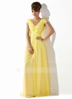 Prom Dresses - $144.49 - A-Line/Princess V-neck Floor-Length Chiffon Prom Dress With Ruffle Beading (018005580) http://jjshouse.com/A-Line-Princess-V-Neck-Floor-Length-Chiffon-Prom-Dress-With-Ruffle-Beading-018005580-g5580