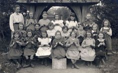 https://flic.kr/p/saRsjA | School knitting group | Black and white photograph showing Sherborne St John School knitting group with teacher. Sherborne St John, Hampshire HMCMS:P2002.485 DPAANH90