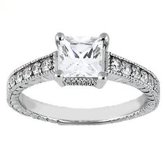 Beautiful 14k White Gold Solitaire Engagement Ring - 1ct. Princess Cut CZ center stone