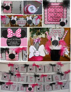 Minnie Mouse Hot Pink faceless Birthday by ASweetCelebration 1st Birthday Party Themes, 1st Birthday Decorations, Birthday Ideas, Minnie Mouse Party Decorations, Party Time, Hot Pink, Birthdays, Cricut, Party Ideas