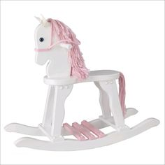 This lovely wooden rocking horse will be something your child will treasure for years. Crafted from solid wood, this high quality rocking horse has a long pink Unicorn Rocking Horse, Wood Rocking Horse, Wooden Horse, Carousel Designs, Toddler Rooms, Carousel Horses, Wood Toys, Baby Design, Kids Furniture