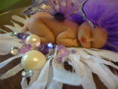 fairy baby purple AMETHYST ooak art doll wing elf fairies fantasy crystal white