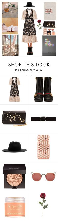 """""""Working for it (one of my favorite outfit)"""" by thatyaninaguys ❤ liked on Polyvore featuring COSMOSIS, Anna Sui, Gucci, Yves Saint Laurent, Vero Moda, Études, Laura Mercier, Ray-Ban and Sara Happ"""