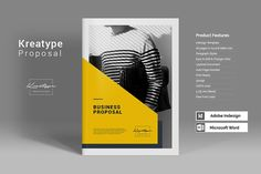Kreatype Proposal Templates The Business Proposal, clean and creative template. This layout is suitable for any project purpose by Kreatype Studio Design Brochure, Creative Brochure, Brochure Design Inspiration, Brochure Layout, Design Layouts, Brochure Ideas, Booklet Design, Creative Business, Business Proposal Template