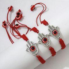 Lot 3 Hamsa Hand Evil Eye Judaica Bracelets Red String by Kabbala
