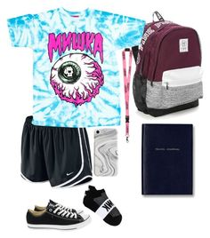 """""""Travel/Lazy Day Outfit"""" by aleeeeeeeex on Polyvore featuring NIKE, Victoria's Secret, Converse, Recover, Vans and Smythson"""