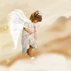 Angel walking in a cloud