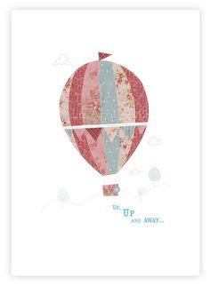 A4 PRINT  Hot Air Balloon illustration Nursery art by TheInkHouse, $15.00