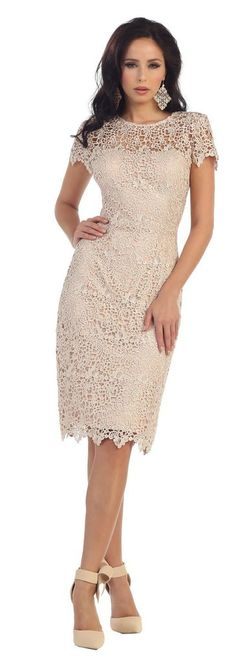 Short Mother of the Bride Lace Plus Size Formal Cocktail - The Dress Outlet - 4