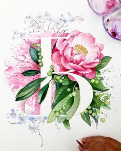 "Hand painted bespoke ""B"" for Belinda. Want sth special for your love one. Drop me an email with your favourite flowers and theme. I sketch it out for you:) #watercolorpainting #lettering #bespokegifts #handpainted #watercolourflowers #peonies #peony #pinkpeonies"