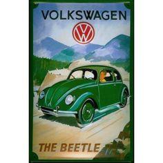 Metall Schild - Beetle in grün