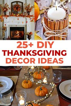 25 Easy & Elegant Rustic DIY Thanksgiving Decorations To Copy This Year White Pumpkin Centerpieces, Lighted Centerpieces, Thanksgiving Centerpieces, Table Decorations, Thanksgiving Tree, Thanksgiving Parties, Diy Apple Candles, Pumpkin Decorating, Elegant