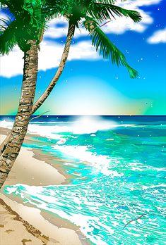 328.ふるさとの渚 – GALLERY Summer Art, Summer Vibes, Japanese Illustration, Character Drawing, Pixel Art, Palm Trees, Cool Art, Tropical, Waves
