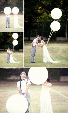 Big white balloons (and a fab lace dress by Allure Bridals.)