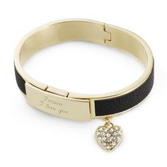 Personalized Gold and Black Leather Bangle With Free Keepsake Box, Add Your Message