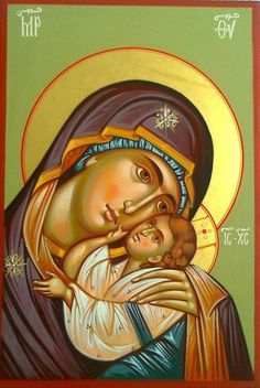 The Theotokos - Our Lady of Tenderness Religious Images, Religious Icons, Religious Art, Byzantine Icons, Byzantine Art, Mama Mary, Blessed Mother Mary, Madonna And Child, Catholic Art