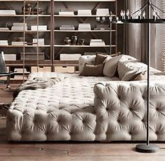 Restoration Hardware - amazingness! Bet could DIY this with some mattresses and a frame for the back!