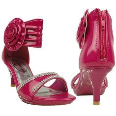 Kids Dress Sandals Flower Rosette Rhinestone Adjustable Ankle Strap Fuchsia => Additional info  : Girls sandals