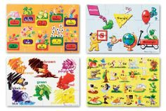 """Beginning Skills Floor Puzzle by Melissa & Doug. Save 28 Off!. $17.33. 24""""L x 36""""W Assembled. Four educational, colorful cardboard floor puzzles for one low price! These detailed puzzles help kids learn the ABCs, numbers 1-10, colors and shapes. Each 12-piece puzzle is 12"""" x 18"""" when assembled and the extra-thick pieces are 20% thicker than the competition's. Its easy-clean surface keeps puzzle looking new."""