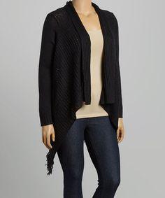 Look at this #zulilyfind! Black Shawl Collar Open Cardigan - Plus by TrendSet Originals #zulilyfinds
