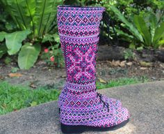 Womens Boho Boots In Pink Ethnic Hmong Embroidery by SiameseDreamDesign
