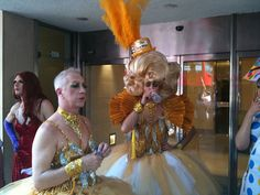 Pride London drag queens waiting for march to start by garybembridge, via Flickr