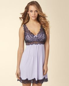 Soma Intimates Floral Scroll Lace Sleep Chemise Soft Lilac with Black #somaintimates