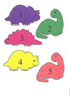 Counting dinos 1/5 Teaching Colors, Teaching Math, Maths, Letter Activities, Preschool Activities, Dinosaur Silhouette, Dinosaurs Preschool, Dinosaur Crafts, Busy Book