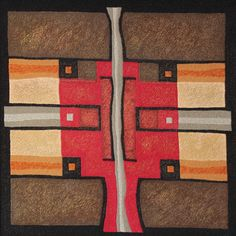 """""""Divided squares"""" by Victoria Potrovitza © 2011 22x22 in. Textile, hand embroidery, cotton threads, silk on wood stretcher bars."""