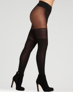 DKNY Super Opaque Tights - Illusion Garter #0B337 $15