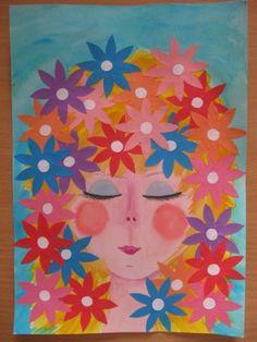 Jarní víla - malba, koláž