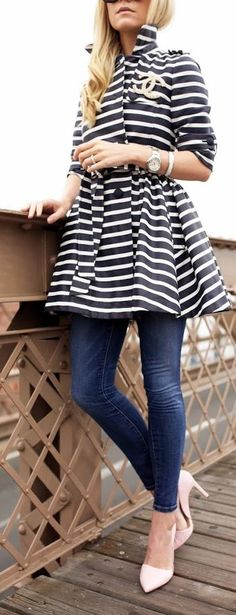 Striped Jacket Chic Style by Atlantic - Pacific