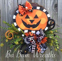 Halloween Wreath Halloween Pumpkin Pumpkin Wreath by BaBamWreaths