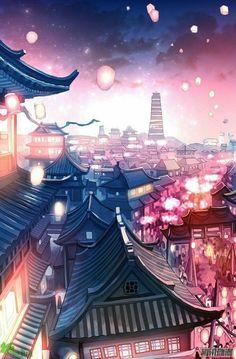 New City Landscape Illustration Drawings Ideas Scenery Wallpaper, Landscape Wallpaper, Landscape Drawings, City Landscape, Fantasy Landscape, Digital Foto, City Drawing, Japon Illustration, Landscape Illustration