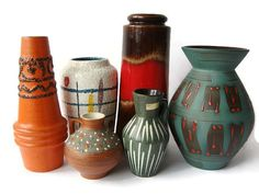 Vintage West German Pottery ceramic vases set of 6 by VintageBreda