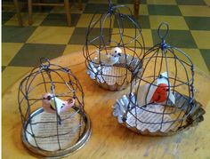 Little birdcages with pastry tins as bases - OR super tiny with bottle caps  A whole tiny zoo =)