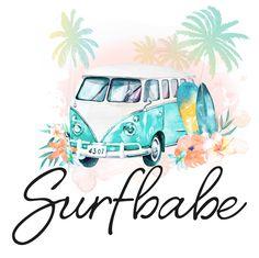 logo surf, surfing, wv van, watercolor, beach logo, palm tree, logo design