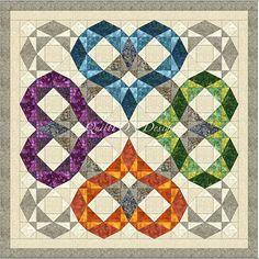 "Heartwaves - Quilt pattern 54"" x 54"""